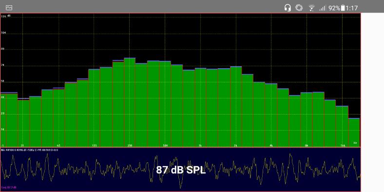 LectroFan Evo pink noise EQ & RTA analysis snapshot