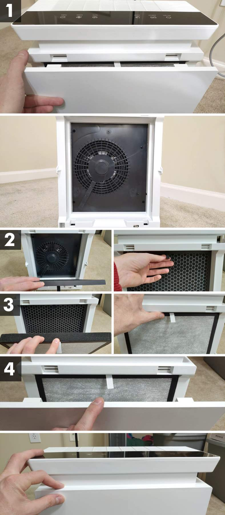 Levoit LV-PUR131 filter installation steps how-to replace filters