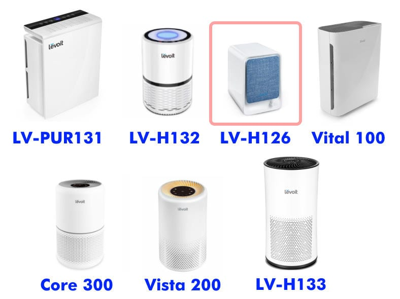 Levoit air purifier product family with LV-H126 highlighted