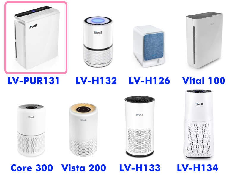 Levoit air purfiier product family comparison with LV-PUR131 highlighted