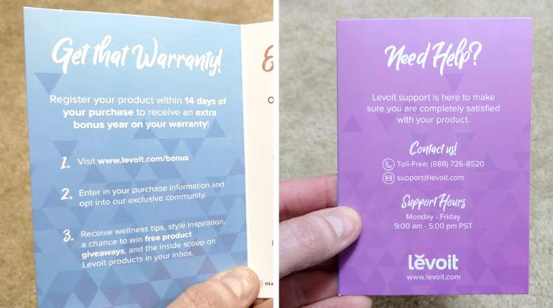 Levoit warranty card & customer service info insert