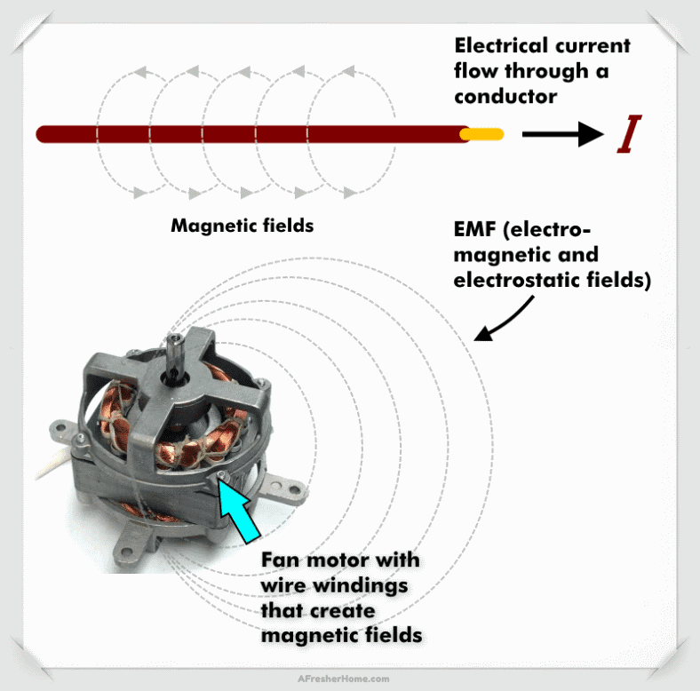 EMF radiation field conductor and motor windings diagram