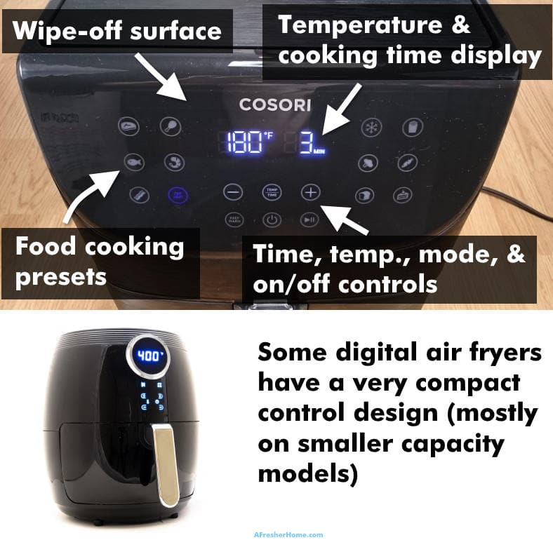 Examples of digital air fryers with features labeled