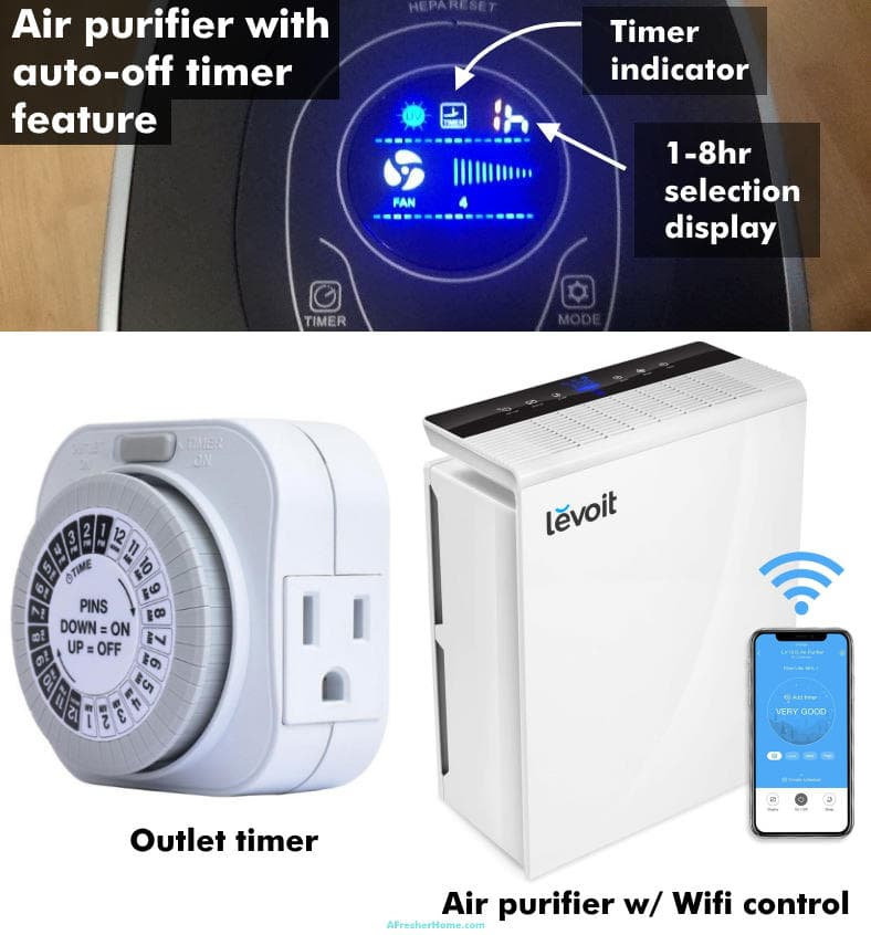 Image showing examples of air purifier timer options