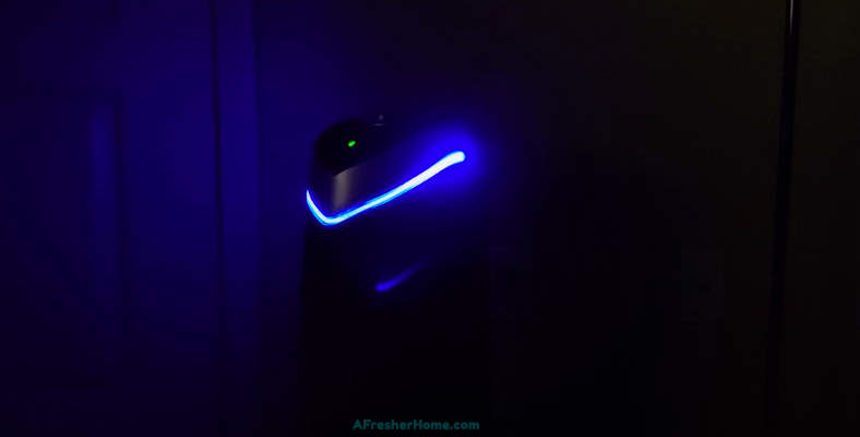 Air purifier UV light glowing at night example image
