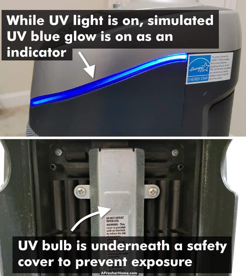 Example of safety features for UV air purifier