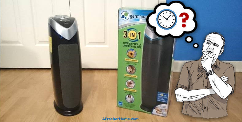 how long do you need to run an air purifier man thinking image